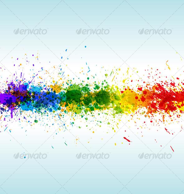 GraphicRiver Color paint splashes Gradient vector background 130683