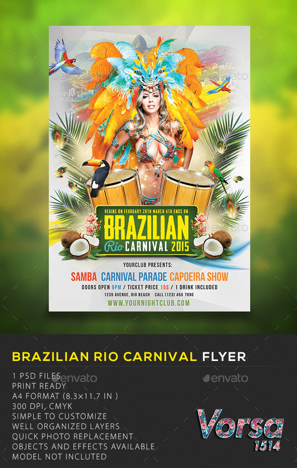 GraphicRiver Brazilian Rio Carnival Flyer 10370383
