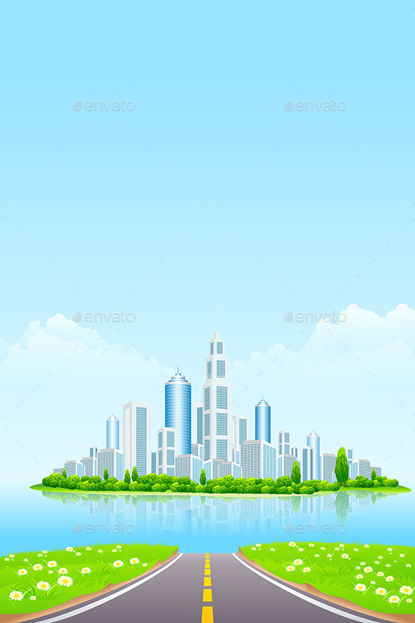 GraphicRiver Business City on Island 10370655