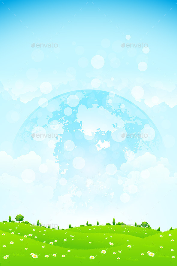 GraphicRiver Green Background with Planet in the Sky 10370657