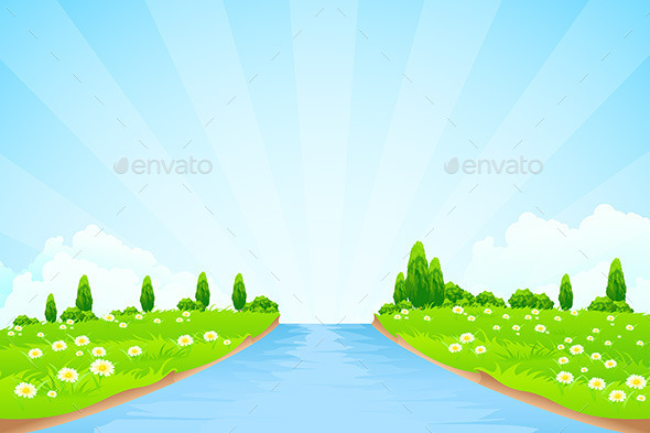GraphicRiver Green Landscape with Trees 10370664