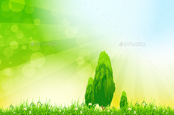 GraphicRiver Fresh Green Grass with Yellow Bokeh and Trees 10370702