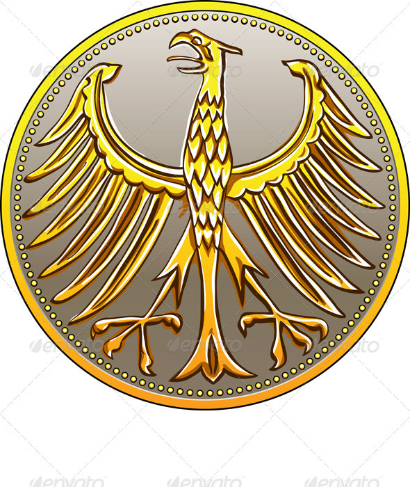 Graphic River Vector Germany Money Gold Coin with Heraldic Eagle Vectors -  Conceptual  Business  Concepts 1044299