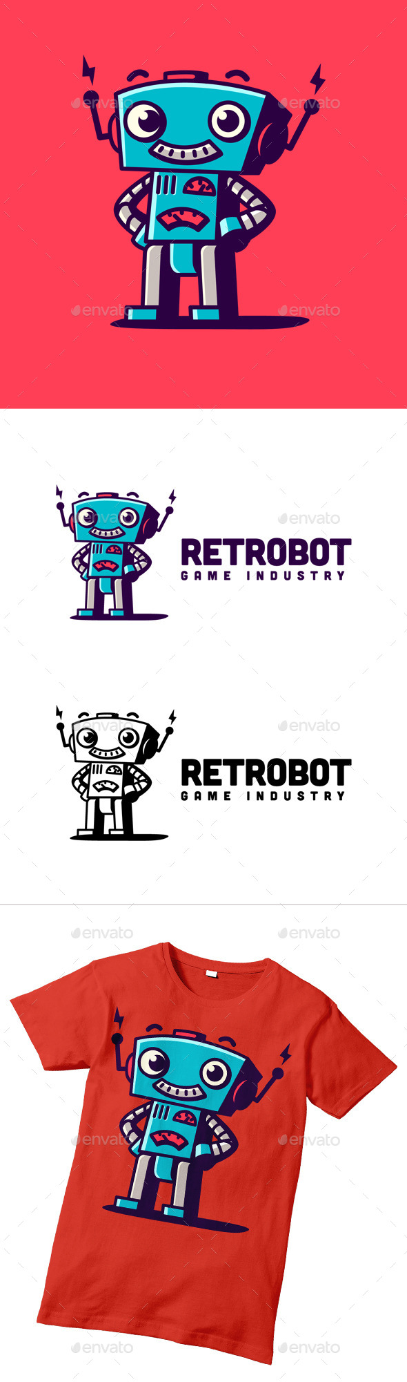 GraphicRiver Retro Robot Character Logo 10371631