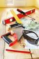 Composition with carpenter work tools on the wooden workbench - PhotoDune Item for Sale