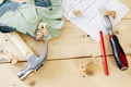 Composition with carpenter working tools on the wooden boards - PhotoDune Item for Sale