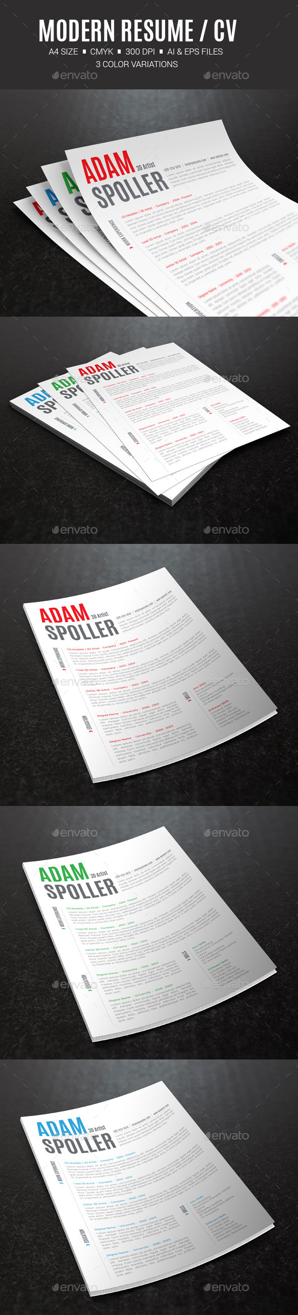 GraphicRiver Modern Resume CV 10372538