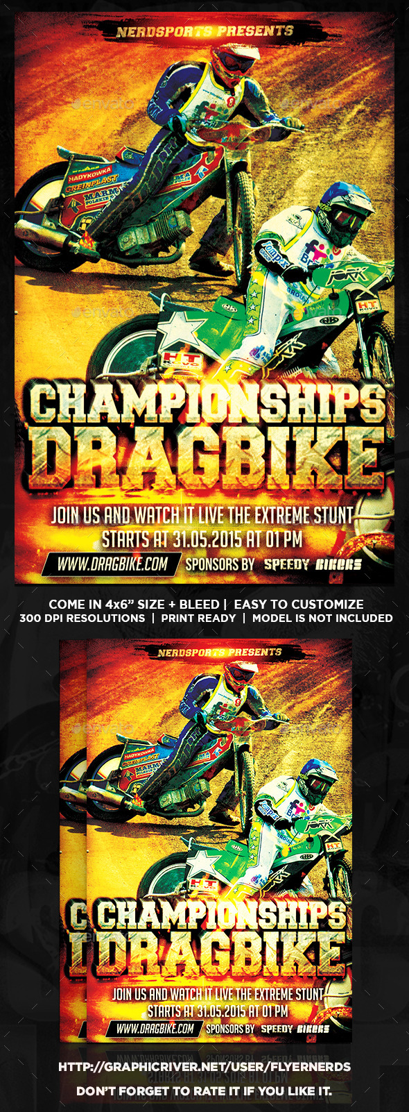 GraphicRiver Drag Bike Championships Sports Flyer 10372589