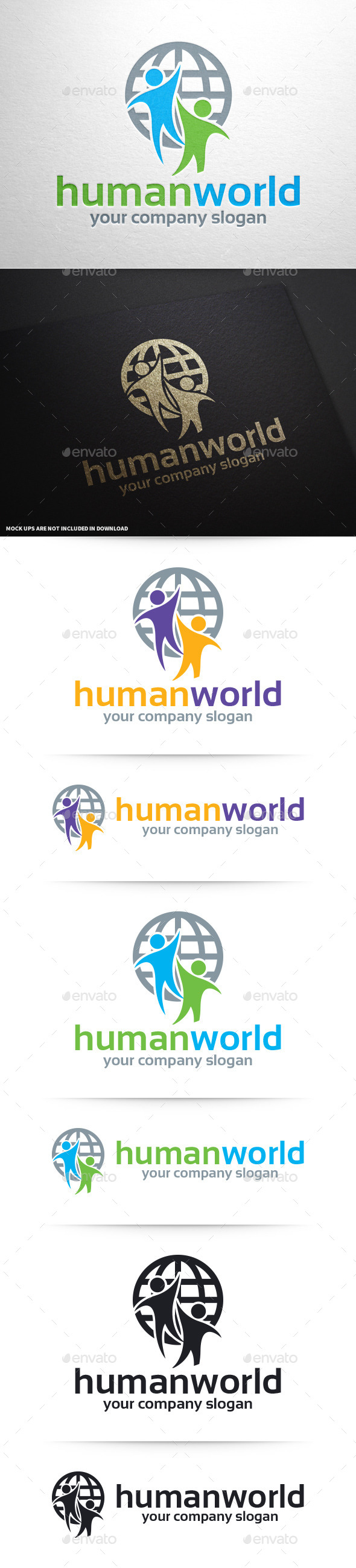 GraphicRiver Human World Logo Template 10373526