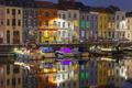 Embankment of the river Leie in Ghent town at night, Belgium - PhotoDune Item for Sale
