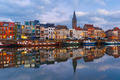 Embankment of the river Leie in Ghent town at sunset, Belgium - PhotoDune Item for Sale