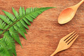 Wooden spoon and fork on table - PhotoDune Item for Sale