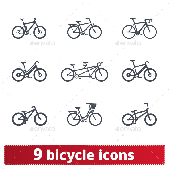 GraphicRiver Bicycle Icons Vector Set 10374242