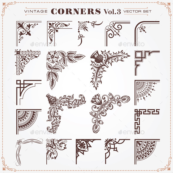 GraphicRiver Vintage Style Design Elements Corners 3 10374514