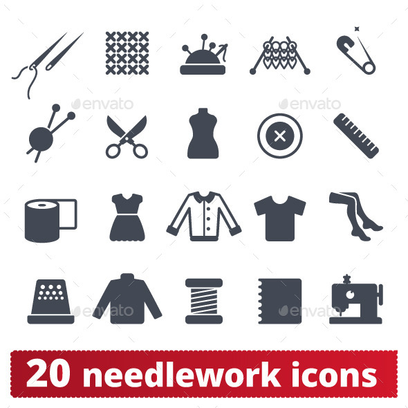GraphicRiver Fashion and Needlework Icons Vector Set 10374538