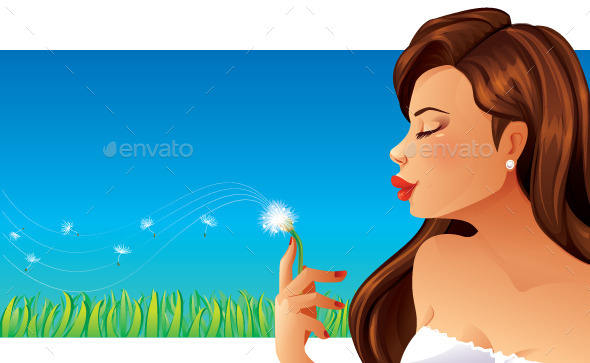 GraphicRiver Woman and Dandelion 10374656