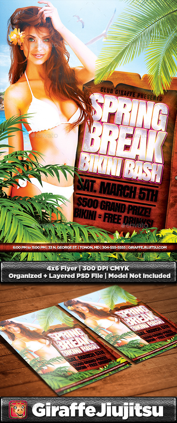 Spring Break Bikini Bash Flyer Template