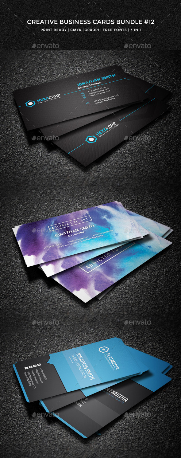 GraphicRiver Creative Business Cards Bundle #12 10376587