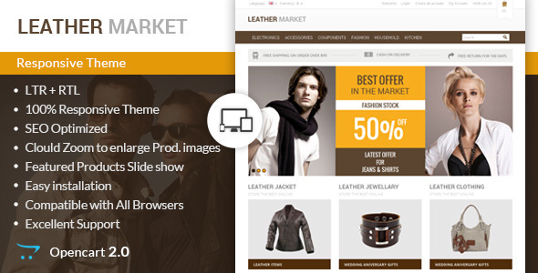 Leather Market - Opencart Responsive Theme - OpenCart eCommerce