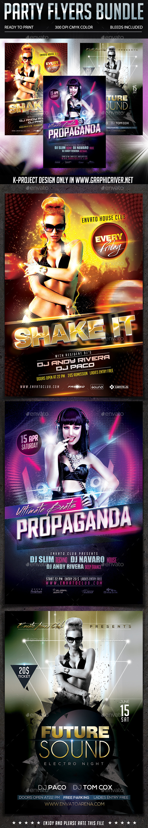GraphicRiver Party Flyers Bundle 10377580