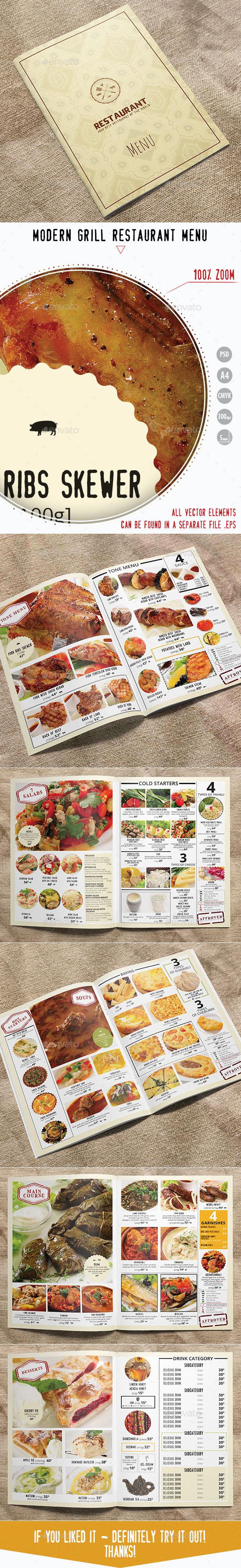 GraphicRiver Modern Grill Restaurant Menu Menu Template 10377872