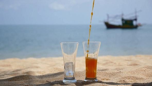 Juice with Ice on Sea Beach
