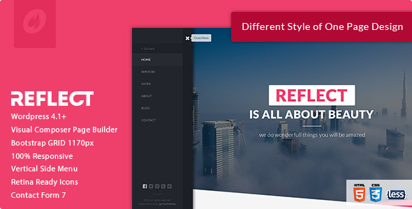 ThemeForest Reflect Responsive One Page Wordpress Theme 10121192