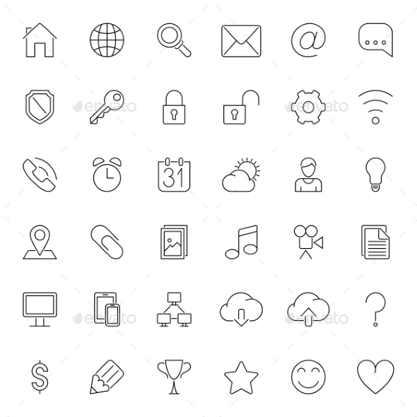 GraphicRiver Thin Line Web Icons 10378396