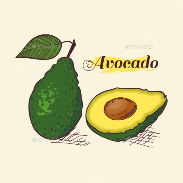 GraphicRiver Whole Avocado with Leaf and Slice 10378610