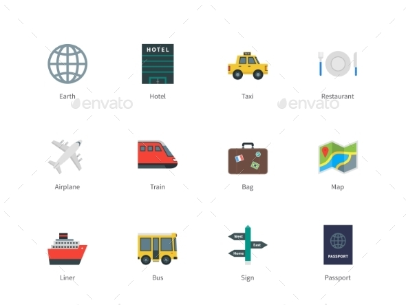 GraphicRiver Travel Color Icons 10378621