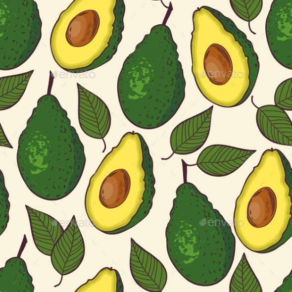 GraphicRiver Seamless Pattern with Avocado and Leaf 10378629