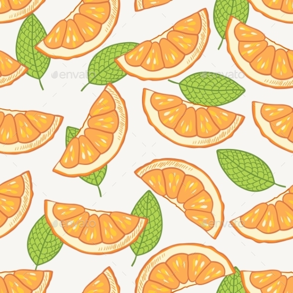 GraphicRiver Orange Slice Seamless Pattern 10378733