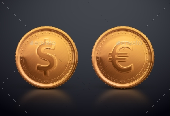 Coin Dollar and Euro