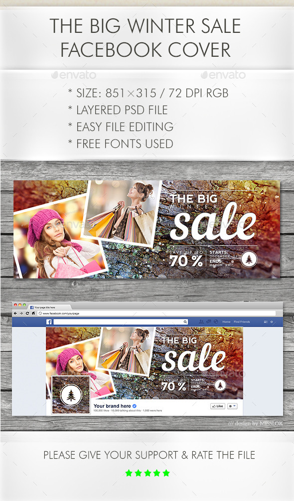 GraphicRiver The Big Winter Sale Facebook Cover 10378926