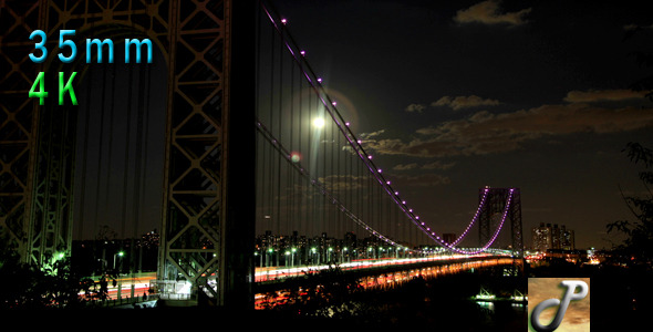 George Washington Bridge On Moonlit Night