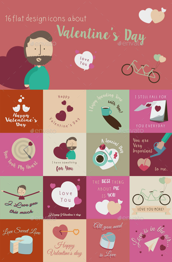 GraphicRiver Happy Valentines Day Flat Design Cards 10338636