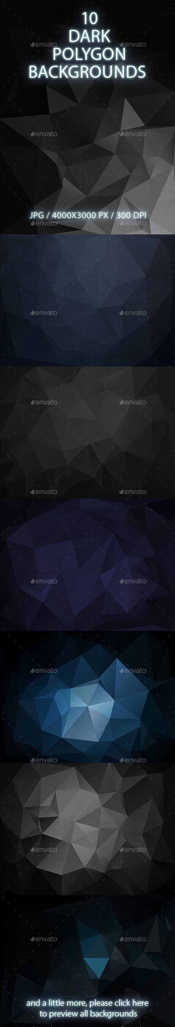 GraphicRiver 10 Dark Polygon Backgrounds 10379245
