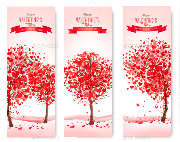 GraphicRiver Holiday Retro Banners Valentine Trees 10356153