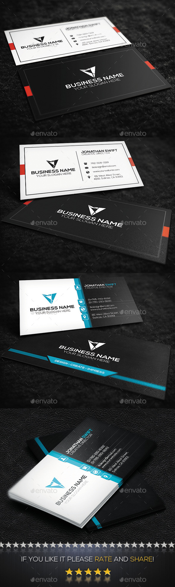 GraphicRiver 2 in 1 Corporate Business Card Bundle No.04 10379466