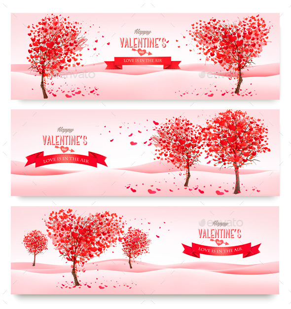 GraphicRiver Holiday Retro Banners Valentine Trees with Hearts 10356220