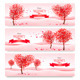 Holiday Retro Banners Valentine Trees with Hearts - GraphicRiver Item for Sale