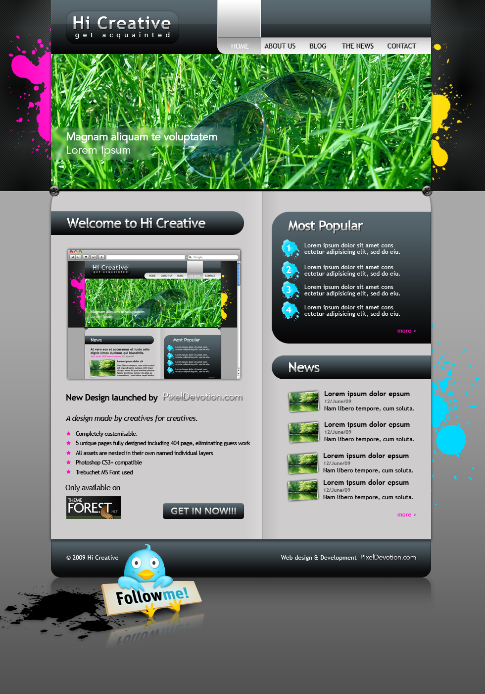 "Hi Creative Portfolio Site - Home Page:  Contains layered PSD for site pages, namely Home Page  All sections are avalable for editing. Individual elements are grouped and named accordingly for ease of use.  In order to edit this page, switch the desired layer ""Home Page"" on and switch of the other pages. Edit as needed.  // Layout layer is for the background visual elements"