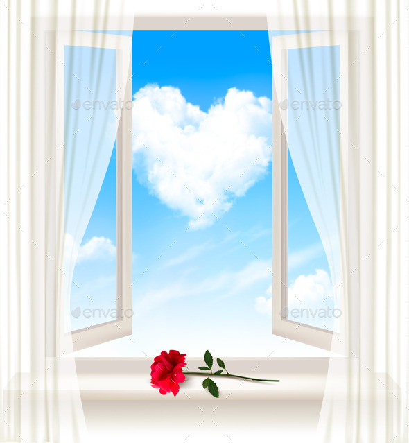 GraphicRiver Background with an Open Window and a Red Flower 10355977