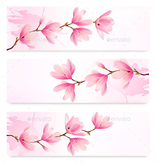 GraphicRiver Three Spring Banners with Blossomed Flowers 10356009