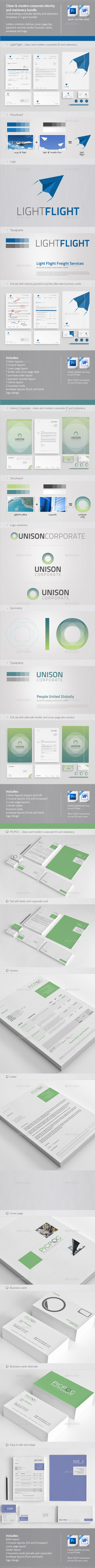 Clean & Modern Corporate ID & Stationary Bundle 1