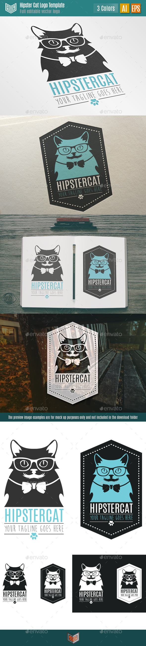 GraphicRiver Hipster Cat Logo 10379674