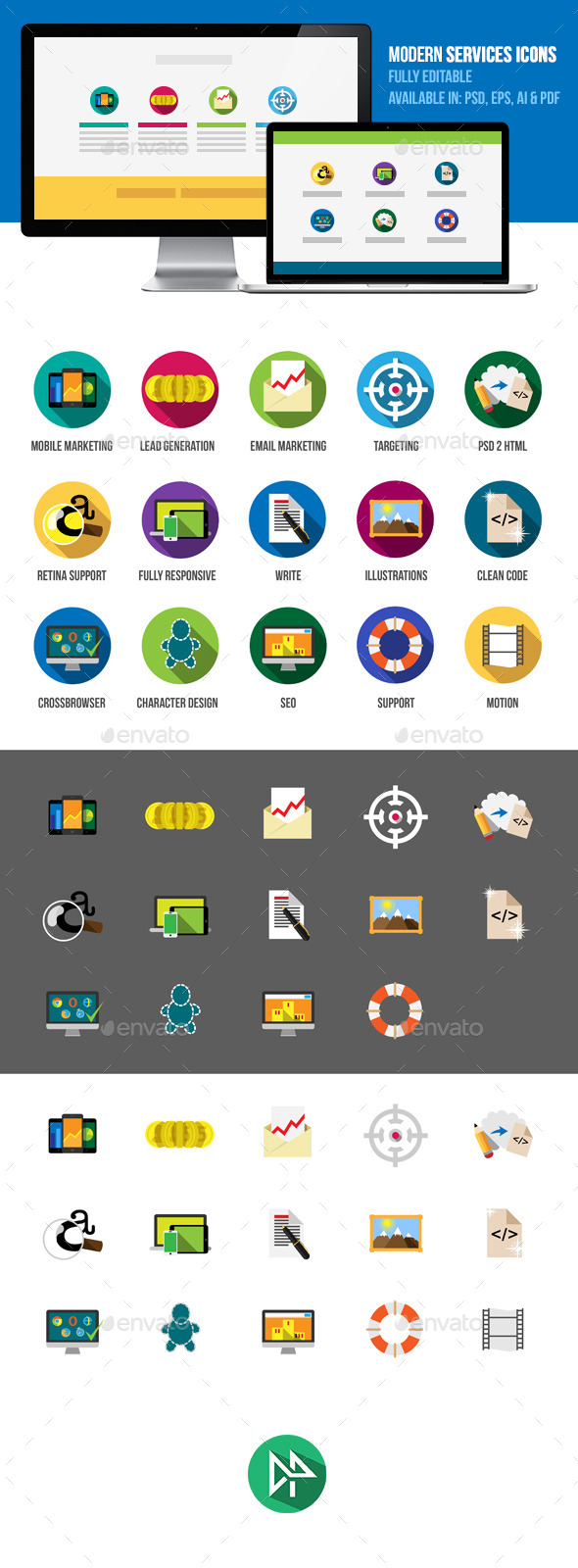 GraphicRiver Modern IT Services Flat Icons 10379687