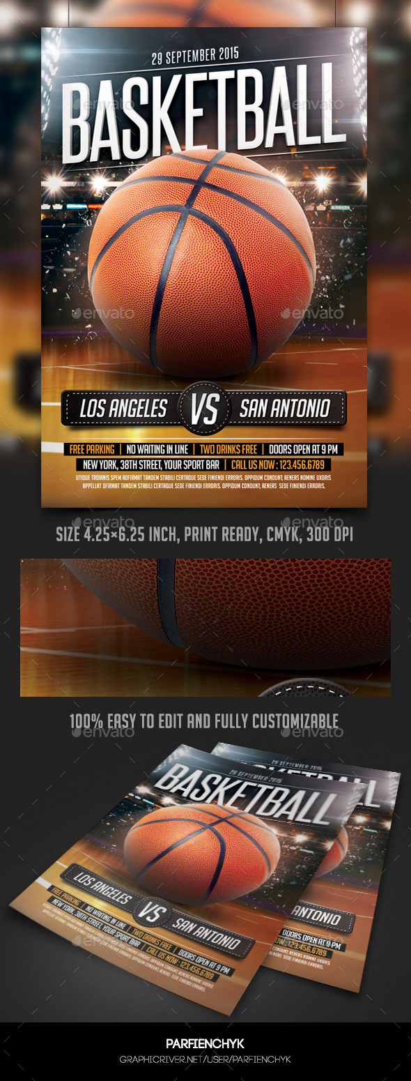 GraphicRiver BasketBall Game Flyer Template 10338366