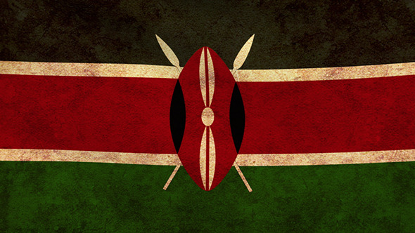 Kenya Flag 2 Pack Grunge and Retro
