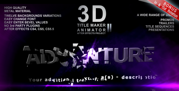 3D Title Maker Animator II VideoHive -   Titles  Abstract 921103